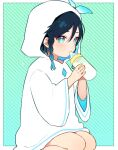 1boy alternate_costume baby_bottle bangs black_hair blue_hair blush bottle braid child chiroron genshin_impact gradient_hair green_background green_eyes highres holding holding_bottle hood hood_up hooded_sweater long_sleeves looking_at_viewer male_focus multicolored_hair seiza short_hair_with_long_locks simple_background sitting solo sweater twin_braids venti_(genshin_impact) younger