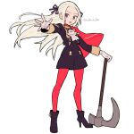 1girl axe blue_eyes blush cape closed_mouth do_m_kaeru edelgard_von_hresvelg fire_emblem fire_emblem:_three_houses full_body garreg_mach_monastery_uniform gloves hair_ornament hair_ribbon high_heels long_hair long_sleeves looking_at_viewer pantyhose red_cape ribbon shorts simple_background solo uniform violet_eyes weapon white_hair