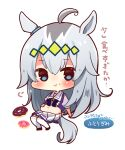 1girl :t ahoge animal_ears bangs beniko_(ymdbnk) big_belly black_footwear blue_eyes blush chibi closed_mouth commentary_request doughnut eating eyebrows_visible_through_hair food food_on_face full_body grey_hair hair_between_eyes horse_ears horse_girl horse_tail long_hair looking_at_viewer multicolored_hair oguri_cap_(umamusume) over-kneehighs pleated_skirt puffy_short_sleeves puffy_sleeves purple_shirt school_uniform shirt shoes short_sleeves silver_hair simple_background skirt solo tail thigh-highs translation_request two-tone_hair umamusume very_long_hair white_background white_legwear white_skirt x_navel