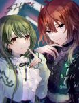 2girls aketa_mikoto blonde_hair earrings green_hair highres idolmaster idolmaster_shiny_colors jewelry kumano09_(yaecha0) lace-trimmed_sleeves lace_trim light_smile long_hair looking_at_viewer manicure multicolored_hair multiple_girls nanakusa_nichika neck_ribbon necklace redhead ribbon ribbon-trimmed_collar ribbon_trim shhis_(idolmaster) smile upper_body