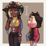 2girls a_very_happy_potato bandana cephalopod_eyes collared_vest colored_skin cropped_vest crown dark_skin dark_skinned_female domino_mask envy height_difference looking_at_another marina_(splatoon) mask mole mole_under_mouth multicolored multicolored_skin multiple_girls octarian pearl_(splatoon) pink_pupils size_difference splatoon_(series) suction_cups tentacle_hair vest