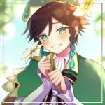 1boy androgynous bangs beret black_hair blue_hair blurry blurry_background blush bow braid cape chiroron collared_cape collared_shirt eyebrows_visible_through_hair flower frilled_sleeves frills genshin_impact gradient_hair green_eyes green_headwear grin hair_flower hair_ornament hat holding holding_flower leaf long_sleeves looking_at_viewer lowres male_focus multicolored_hair open_mouth shirt short_hair_with_long_locks smile solo teeth twin_braids venti_(genshin_impact) white_flower white_shirt