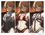 1girl armor bangs bare_shoulders bikini_armor black_legwear blonde_hair blush braid breastplate breasts brown_cape cape clarent_(fate) embarrassed fate/apocrypha fate_(series) faulds french_braid green_eyes grin hair_ornament hair_scrunchie long_hair looking_at_viewer mordred_(fate) mordred_(fate)_(all) navel parted_bangs pelvic_curtain ponytail scrunchie sidelocks small_breasts smile sword thigh-highs thighs tonee weapon