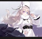 1girl :3 absurdres akutaa azur_lane bangs belt blurry bow capelet clouds cloudy_sky coat commentary_request cross cross_necklace depth_of_field eyebrows_visible_through_hair fur-trimmed_capelet fur-trimmed_coat fur-trimmed_sleeves fur_collar fur_trim hand_on_hip hat hat_bow hat_ribbon heterochromia highres jewelry long_hair looking_at_viewer looking_to_the_side machinery murmansk_(azur_lane) necklace papakha ribbon sidelocks silver_hair sky smile snowing solo turret wind winter_clothes winter_coat