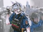 2girls animal_ears baton black_gloves blush clenched_teeth cuffs fingerless_gloves gloves gold_ship handcuffs helmet highres horse_ears long_hair looking_at_viewer mask multiple_girls osakana_(denpa_yun'yun) riot_shield silver_hair sketch solo_focus sweatdrop teeth umamusume violet_eyes