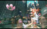 1girl arm_up birdcage building cage dress flower from_below highres long_hair looking_up lotus original outdoors pink_hair sitting skyscraper solo vofan white_dress white_footwear yellow_eyes