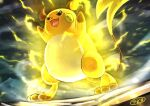 :d arms_up black_eyes commentary electricity from_below gen_1_pokemon kaosu_(kaosu0905) no_humans open_mouth pokemon pokemon_(creature) raichu signature smile solo standing toes tongue