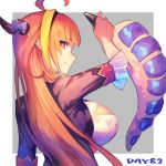 1girl absurdres ahoge anal_tail asacoco bangs black_hairband black_jacket blonde_hair blunt_bangs bow breasts cleavage_cutout clothing_cutout commentary_request diagonal-striped_bow dragon_girl dragon_horns dragon_tail eyebrows_behind_hair fake_tail fang from_side hairband hand_up hatomugi_seika highlights highres hololive horn_bow horns jacket kiryu_coco large_breasts long_hair looking_at_viewer looking_to_the_side multicolored_hair orange_hair pointy_ears red_eyes scales shirt sidelocks simple_background skin_fang smile solo streaked_hair striped striped_bow tail virtual_youtuber white_shirt