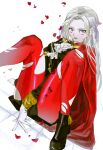1girl black_footwear black_jacket cape edelgard_von_hresvelg fire_emblem fire_emblem:_three_houses foot_out_of_frame forehead garreg_mach_monastery_uniform gloves hair_ribbon highres jacket kajo_(ctpg2528) knees_up long_hair long_sleeves looking_at_viewer pantyhose petals purple_ribbon red_cape red_legwear ribbon rose_petals shoes silver_hair simple_background sitting solo tears torn_clothes torn_legwear violet_eyes white_background white_gloves