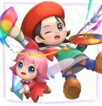 2girls adeleine black_hair blue_eyes blue_legwear fairy fairy_wings gonzarez grey_skirt kirby_(series) kirby_64 looking_at_viewer multiple_girls one_eye_closed paintbrush palette pink_hair red_headwear ribbon_(kirby) shoes skirt smile smock violet_eyes wings