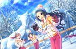 black_eyes black_hair blush dress egami_tsubaki idolmaster_cinderella_girls_starlight_stage long_hair smile winter