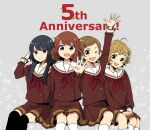 4girls :d ;d adjusting_hair ahoge anniversary arm_up asada_nikki bangs black_hair black_legwear blonde_hair brown_hair brown_shirt brown_skirt closed_mouth feet_out_of_frame green_eyes grey_background hair_ornament hairclip hand_up hibike!_euphonium highres invisible_chair katou_hazuki kawashima_sapphire kitauji_high_school_uniform kneehighs kousaka_reina long_hair long_sleeves multiple_girls neckerchief one_eye_closed open_mouth oumae_kumiko own_hands_together red_neckwear redhead sailor_collar school_uniform shirt short_hair simple_background sitting skirt smile spread_fingers star_(symbol) thigh-highs violet_eyes white_legwear white_sailor_collar yellow_eyes zettai_ryouiki