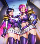 2girls badcompzero black_hair blue_eyes breasts caitlyn_(league_of_legends) commentary english_text fingerless_gloves gloves goggles goggles_on_head large_breasts league_of_legends lips looking_at_viewer looking_down multicolored_hair multiple_girls nail_polish panties pink_hair red_panties school_uniform skindentation thick_thighs thighs two-tone_hair undercut underwear vi_(league_of_legends)