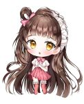 1girl :o absurdly_long_hair auro_drm bang_dream! bangs blunt_bangs blush bow brown_hair character_request chibi eyebrows_visible_through_hair frilled_legwear full_body hair_bow hair_rings headdress highres long_hair looking_at_viewer one_side_up parted_lips pink_bow pink_legwear pink_skirt pleated_skirt puffy_short_sleeves puffy_sleeves shirt short_sleeves skirt solo standing thigh-highs very_long_hair white_background white_shirt yellow_eyes