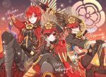 3girls black_gloves black_hair black_jacket black_pants boots character_name cloak crossed_legs eyebrows_visible_through_hair fate/grand_order fate_(series) gloves gun hair_between_eyes hair_over_one_eye hat head_rest hi_(wshw5728) highres holding holding_gun holding_weapon jacket katana long_hair looking_at_viewer midriff military_hat multiple_girls musket oda_kippoushi_(fate) oda_nobunaga_(fate) oda_nobunaga_(fate)_(all) oda_nobunaga_(maou_avenger)_(fate) oda_uri open_mouth pants parted_lips red_cloak red_eyes redhead sitting smile sword weapon white_gloves