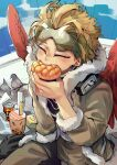 1boy animal artist_name between_legs bird black_gloves blonde_hair boku_no_hero_academia bread brown_jacket brown_pants bubble_tea can closed_eyes commentary earrings eating english_commentary feathered_wings fingernails food fur-trimmed_jacket fur_trim gloves gloves_removed goggles goggles_on_head hand_between_legs hawks_(boku_no_hero_academia) headphones headphones_around_neck holding holding_food jacket jewelry kadeart male_focus melon_bread pants pigeon red_wings short_hair single_glove solo symbol-shaped_pupils tinted_eyewear wings
