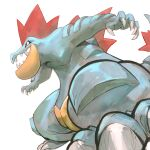 claws commentary english_commentary feraligatr garrett_hanna gen_2_pokemon highres legs_apart no_humans open_mouth pokemon pokemon_(creature) red_eyes sharp_teeth simple_background solo teeth white_background