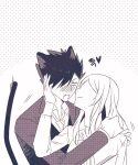 1boy 1girl animal_ears black_hair blush cat_boy cat_ears cat_tail haiba_arisa haikyuu!! heart hetero hug kuroo_tetsurou long_hair monochrome petting sanme tail