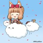 >_< 1girl :3 :d ^_^ animal_ear_fluff animal_ears bangs blue_background blush bow braid brown_hair closed_eyes closed_mouth clouds commentary_request eyebrows_visible_through_hair fang flower gradient gradient_background hair_bow hair_flower hair_ornament hair_ribbon long_hair low_twintails maho_(princess_connect!) miicha open_mouth petals princess_connect! princess_connect!_re:dive red_bow red_flower red_ribbon red_rose ribbon rose smile solid_circle_eyes solo stuffed_animal stuffed_bunny stuffed_dog stuffed_penguin stuffed_toy twintails twitter_username very_long_hair