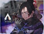 1girl apex_legends bangs black_hair black_scarf blood blood_on_face blue_eyes copyright_name electricity fence floating_scarf gloves grey_gloves hair_behind_ear hair_bun holding holding_knife iyo_(nanaka-0521) knife kunai logo looking_down nose_piercing open_mouth parted_bangs piercing scarf solo weapon wraith_(apex_legends)