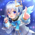 1girl :d absurdres aiguillette amane_kanata angel angel_wings black_skirt blue_eyes blue_hair blue_neckwear blue_wings blurry blush bob_cut bokeh bow bowtie colored_inner_hair depth_of_field feathered_wings gradient gradient_eyes gradient_wings grey_jacket hair_intakes hair_over_one_eye halo highres holding holding_microphone hololive jacket long_sleeves looking_at_viewer microphone multicolored multicolored_eyes multicolored_hair multicolored_wings music open_mouth pink_hair pointing pointing_at_viewer reflective_eyes sailor_collar shirt short_hair silver_hair singing skirt sleeve_cuffs sleeves_folded_up smile solo star_halo streaked_hair turtleneck v-shaped_eyebrows violet_eyes virtual_youtuber white_shirt white_wings wide_sleeves wings yukikawa_sara