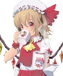 1girl absurdres ascot bangs blush bow brown_hair clip_studio_paint_(medium) commentary_request covered_mouth crystal cup drinking eudetenis eyebrows_behind_hair flandre_scarlet giving hair_between_eyes hat highres holding holding_cup incoming_drink long_hair looking_at_viewer mob_cap mug puffy_short_sleeves puffy_sleeves red_bow red_eyes red_skirt red_vest remilia_scarlet shirt short_sleeves simple_background skirt skirt_set solo touhou twitter_username vest white_background white_headwear white_shirt wings wrist_cuffs yellow_neckwear