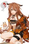 1girl 9degree ? absurdres animal_ears arknights barefoot bikini bikini_top black_bikini black_collar breasts brown_eyes brown_hair ceobe_(arknights) ceobe_(summer_flowers)_(arknights) chain collar commentary dog dog_ears dog_tail full_body highres jacket lock long_hair looking_at_viewer medium_breasts official_alternate_costume open_clothes open_jacket open_mouth orange_jacket padlock padlocked_collar simple_background solo spoken_question_mark squatting stomach swimsuit tail thigh_strap thighs white_background
