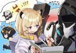 1other 2girls ambiguous_gender animal_ear_fluff animal_ears arknights bangs bikini black_hair black_jacket black_nails blush cat_ears collarbone doctor_(arknights) eunectes_(arknights) eyebrows_visible_through_hair gloves goggles goggles_on_head grey_shirt holding holding_magazine holding_wrench hood hood_up hooded_jacket jacket lancet-2_(arknights) long_sleeves magazine mitake_eil multiple_girls open_mouth platinum_blonde_hair pointy_ears red_bikini robot shirt short_hair smile sweatdrop swimsuit tools translation_request upper_body utage_(arknights) violet_eyes white_gloves white_jacket wrench