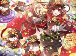 1girl belt black_hair black_jacket black_pants chain cloak confetti cowboy_shot fate/grand_order fate_(series) floating_hair gloves hat hi_(wshw5728) highres holding holding_sword holding_weapon jacket katana long_hair military_hat oda_nobunaga_(fate) oda_nobunaga_(fate)_(all) open_mouth over_shoulder pants red_cloak red_eyes robot standing sword sword_over_shoulder ufo weapon weapon_over_shoulder white_gloves