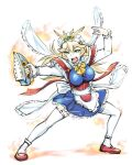 1girl alternate_costume blonde_hair breasts enmaided green_eyes gundam hair_ornament long_hair maid mecha_musume mobile_suit_gundam open_mouth rx-78-2 simple_background skirt solo ueyama_michirou white_background