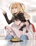 1boy 1girl amane_misa arrow_(symbol) bags_under_eyes bangs black_eyes black_hair black_shirt blonde_hair brown_eyes cake character_name copyright_name dated death_note denim desk detached_sleeves eating_hair empew eyebrows_visible_through_hair food fork holding holding_fork jeans l_(death_note) long_hair open_mouth pants pointing red_skirt shirt signature sitting skirt t-hair two_side_up white_shirt