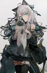 1girl :t ahoge animal animal_ears arknights bare_shoulders black_choker black_coat black_hair black_legwear black_ribbon blush cat cat_ears cat_girl cat_tail choker closed_mouth clothes_writing coat commentary_request dress elite_ii_(arknights) gradient_hair grey_background grey_dress hair_ribbon head_tilt holding holding_animal holding_cat layered_dress long_hair long_sleeves looking_at_viewer mint_(arknights) multicolored_hair nuudoru off_shoulder open_clothes open_coat ribbon silver_hair simple_background slit_pupils smile solo tail thigh-highs white_background zettai_ryouiki