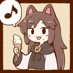 1girl :3 animal_ears bangs black_border black_eyes border brooch brown_hair dress eyebrows_visible_through_hair food food_on_face highres holding holding_food ice_cream ice_cream_cone imaizumi_kagerou jewelry long_hair long_sleeves looking_at_viewer musical_note poronegi simple_background smile solid_oval_eyes solo spoken_musical_note tongue tongue_out touhou upper_body white_dress wide_sleeves wolf_ears