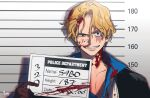 1boy artist_name black_eyes blonde_hair blood blood_on_face bloody_clothes brown_gloves character_name eyebrows_visible_through_hair gloves grin holding holding_sign looking_at_viewer male_focus mugshot no_hat no_headwear one_piece pipi_080 raised_eyebrow sabo_(one_piece) scar scar_on_face shadow short_hair sign smile solo straight-on wavy_hair