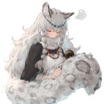 1girl animal_ear_fluff animal_ears arknights bangs black_cape blush cape circlet closed_eyes eyebrows_visible_through_hair highres io_(io_oekaki) jewelry large_tail leopard_ears leopard_girl leopard_tail long_sleeves necklace open_mouth pramanix_(arknights) simple_background solo squiggle tail tail_brushing turtleneck upper_body white_background