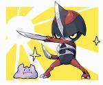 :i black_eyes border claws commentary_request crack ditto gen_1_pokemon gen_5_pokemon legs_apart pawniard pokemon pokemon_(creature) sparkle standing uraya white_border