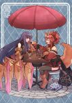 021_shiro 2girls absurdres animal_ear_fluff animal_ears bell breasts cat_paws cherry claw_(weapon) claws closed_eyes collar eating eyebrows_visible_through_hair fang fate/grand_order fate_(series) feeding food fou_(fate) fox_ears fox_girl fox_tail fruit gigantic_breasts gloves hair_ribbon highres holding holding_spoon huge_breasts huge_filesize ice_cream incoming_food jingle_bell multiple_girls neck_bell o-ring o-ring_top open_mouth orange_(food) parfait passionlip_(fate) paw_gloves paw_shoes paws pink_eyes pink_hair pink_ribbon pocky purple_hair ribbon riyo_(lyomsnpmp)_(style) shoes spoon strawberry sundae tail tamamo_(fate)_(all) tamamo_cat_(fate) weapon