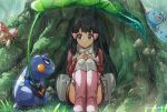 1girl absurdres bag bangs black_hair boots coat commentary_request croagunk dawn_(pokemon) duffel_bag eyelashes gen_1_pokemon gen_2_pokemon gen_4_pokemon grass grey_eyes hair_ornament hairclip highres leaf long_hair long_sleeves looking_to_the_side moss mushroom over-kneehighs paras pink_footwear pokemon pokemon_(creature) pokemon_(game) pokemon_dppt pokemon_platinum rain red_coat scarf shuro sitting thigh-highs wooper