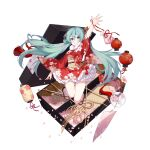1girl aqua_eyes aqua_hair arm_up bare_legs floral_print frilled_kimono frills full_body hatsune_miku highres japanese_clothes kimono kinchaku lantern long_hair looking_at_viewer obi paper_lantern parted_lips petals pouch red_kimono sash slyvia smile solo twintails very_long_hair vocaloid white_background wide_sleeves wind_chime zouri
