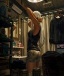 1girl absurdres ass bare_shoulders black_shirt black_tank_top breasts clothes_hanger commentary curtains facing_away from_side grey_shorts guweiz highres indoors long_hair mirror neon_lights original reflection shirt shirt_removed short_shorts shorts small_breasts solo symbol_commentary tank_top tile_wall tiles toothbrush very_long_hair white_hair window