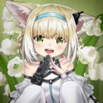 1girl :d absurdres animal_ear_fluff animal_ears arknights bangs bare_shoulders black_gloves blue_hairband braid breasts clothing_cutout collarbone commentary_request flower fox_ears gloves green_eyes hair_between_eyes hair_rings hairband highres knees_up light_brown_hair lily_of_the_valley looking_at_viewer multicolored_hair open_mouth pantyhose shirt shoulder_cutout small_breasts smile solo steepled_fingers suzuran_(arknights) twin_braids two-tone_hair upper_teeth white_flower white_hair white_legwear white_shirt