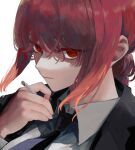 1girl bangs black_neckwear blazer braid braided_ponytail business_suit chainsaw_man cigarette close-up collared_shirt colored_eyelashes formal hair_between_eyes highres holding holding_cigarette jacket long_hair long_sleeves looking_at_viewer makima_(chainsaw_man) necktie parted_lips portrait red_eyes redhead ringed_eyes shirt short_hair simple_background sion001250 solo suit white_background white_shirt