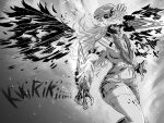 1girl breasts burning chainsaw_man chef_hat claws clenched_teeth demon_girl fire greyscale hat highres hololive hololive_english jjsmiley95 long_hair medium_breasts midriff monochrome monsterification parody shorts sound_effects style_parody takanashi_kiara teeth transformation white_legwear wings
