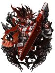 1boy belt black_gloves brown_hair chain claws cross dragon_install english_text fire gloves guilty_gear guilty_gear_xrd holding holding_weapon long_hair looking_at_viewer male_focus multiple_belts ponytail re_(re_09) red_eyes simple_background sol_badguy transformation weapon white_background