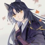 1girl animal_ears ann_jsuan arknights artist_name autumn_leaves bangs black_hair black_kimono braid dog_ears elbow_gloves eyebrows_visible_through_hair falling_leaves fingerless_gloves forehead gloves hair_ribbon hand_up highres japanese_clothes kimono leaf long_hair maple_leaf parted_bangs purple_gloves ribbon saga_(arknights) side_braid simple_background solo upper_body very_long_hair white_background yellow_eyes yellow_ribbon