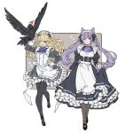 2girls alternate_costume apron bangs bird black_dress black_legwear blonde_hair bow bowtie breasts dress enmaided eyepatch fischl_(genshin_impact) frilled_apron frilled_dress frills genshin_impact green_eyes hair_ribbon hand_on_hip hat highres jennygin2 keqing keqing_(genshin_impact) long_hair long_sleeves maid maid_headdress multiple_girls open_mouth oz_(genshin_impact) pantyhose purple_hair purple_neckwear ribbon simple_background twintails two-tone_background two_side_up v v_over_eye violet_eyes waitress white_apron
