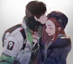 1boy 1girl apex_legends backpack bag beanie black_hair black_jacket black_shirt brother_and_sister closed_eyes collarbone crypto_(apex_legends) earrings forehead_kiss fur_trim green_shirt green_sleeves hair_behind_ear hat iyo_(nanaka-0521) jacket jewelry kiss medium_hair mila_alexander mole_above_eye multicolored_hair necklace orange_hair purple_hair purple_headwear shirt siblings streaked_hair tearing_up upper_body white_jacket