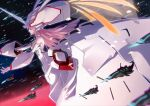 1girl absurdres alternate_costume darling_in_the_franxx detached_collar detached_sleeves dress from_side highres long_hair mecha_musume off-shoulder_dress off_shoulder outstretched_arms pink_hair profile slyvia solo strelizia very_long_hair white_dress white_headwear zero_two_(darling_in_the_franxx)