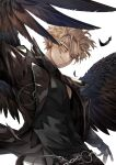 1boy alternate_costume alternate_wings artist_name belt black_feathers black_gloves black_jacket black_shirt black_wings blonde_hair boku_no_hero_academia chain chain_belt closed_mouth commentary earrings facial_hair facial_mark feathered_wings feathers fingerless_gloves gloves hawks_(boku_no_hero_academia) jacket jewelry kadeart light_smile long_sleeves male_focus o-ring reward_available shirt short_hair sleeveless sleeveless_shirt solo stubble symbol_commentary turtleneck upper_body white_background wings yellow_eyes