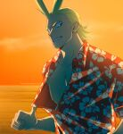 1boy all_might alternate_costume antenna_hair bare_pecs beach blonde_hair boku_no_hero_academia floral_print grin hair_slicked_back large_pectorals looking_at_viewer male_focus muscular muscular_male nipples print_shirt pulled_by_self shirt shirt_pull short_hair smile solo sunlight sunset trevo_(trevoshere) upper_body younger